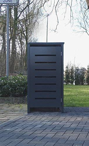 Srm-Design 1 Mülltonnenbox für 120 Liter Mülltonnen/Modell No.6 / komplett Anthrazit RAL 7016 / witterungsbeständig durch Pulverbeschichtung/mit Klappdeckel und Fronttür