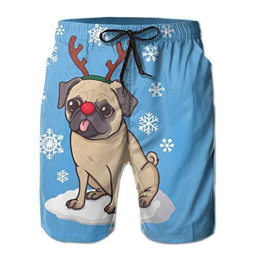 Costumi da Bagno da Uomo Cucciolo di Renna Fiocco di Neve alla Moda Pantaloncini da Surf Estivi Pantaloncini da Bagno Traspiranti,Taglia M
