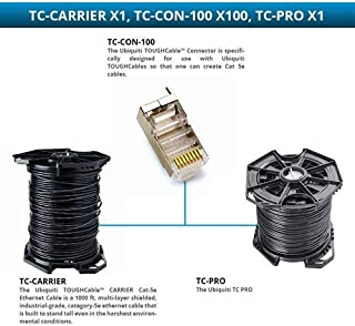 Ubiquiti TC-PRO Tough Cable PRO Outdoor Shielded Cat.5e Network Cable with TC-CON-100 Connectors-100 pk and TC-Carrier Carrier Cat-5e Ethernet Cable