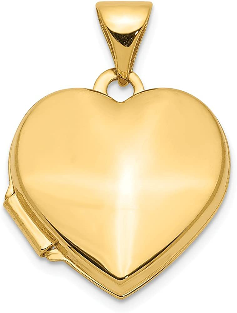 14k Yellow Gold Plain 15mm Heart Locket Pendant Charm Fine Jewelry For Women Gifts For Her
