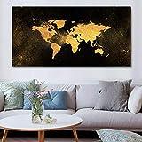 KWzEQ Cartel Moderno del Arte de la Pared del Mapa del Oro Negro en la Lona para la Sala de Estar de la decoración del hogar,Pintura sin Marco,75x150cm