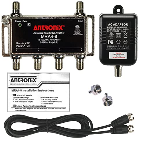 4-Port Cable TV/Antenna/HDTV/Internet Digital Signal Amplifier/Booster/Splitter with Passive Return, Black Coax Power Cable, F59 Terminators (Antronix MRA4-8)
