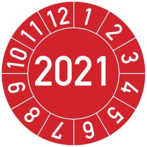 Jahresprüfplakette 2021 in verschiedenen Farben und Größen, 100 Stück, Prüfetikett Prüfplakette Jahresplakette (25 mm Ø, Rot)