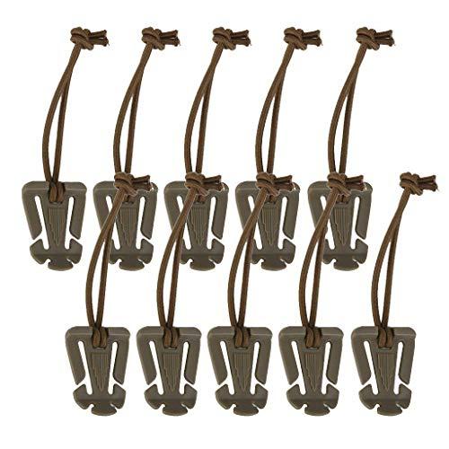 LZVTO 10 PCS Tactical Gear Clip Molle Web Dominators with Elastic String Backpack Straps (Khaki)