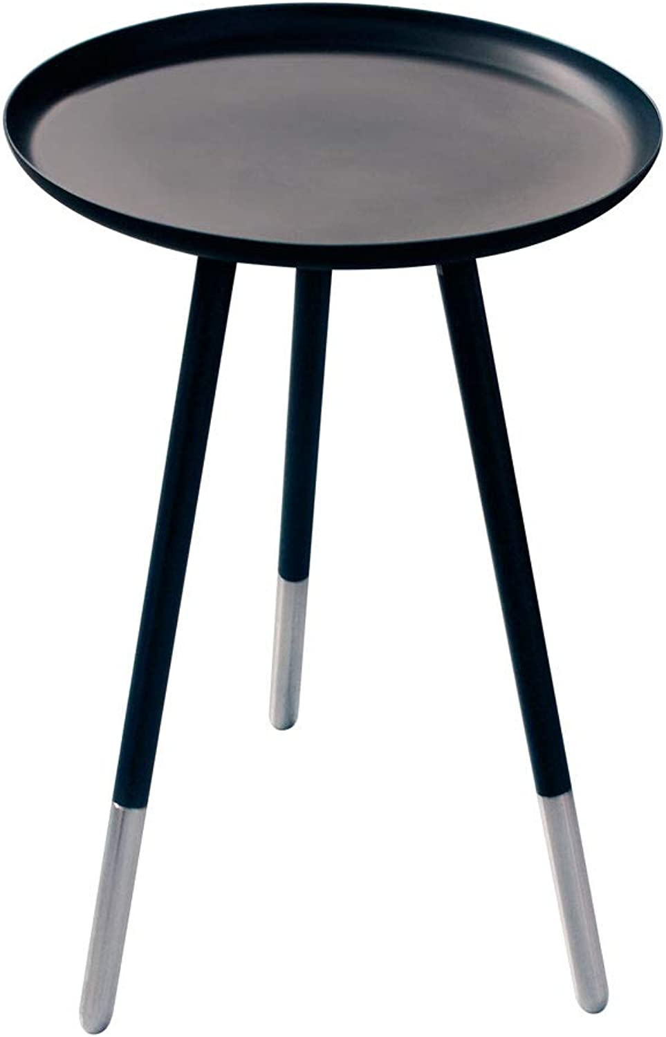 """Amber Home Goods BOZ57 Bergenz Collection End Table Black with Semi-Silver Legs, 12"""""""