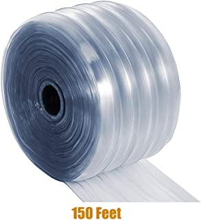 "Plastic Door Curtain – Clear Scratch Guard Ribbed PVC Curtain Bulk Roll, Commercial Industrial Door for Workshop, Garage, Pet Home, Warehouse (150' L x 7.3"" W x 0.07"" Thick)"