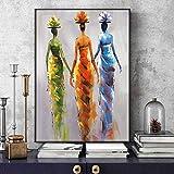 SADHAF Impresión en lienzo Arte abstracto africano de la pared de la pared de la mujer Pintura colorida de la lona del arte en la sala Cartel mural A3 50x70cm