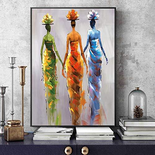 sanzangtang Abstrakte afrikanische Frauenwandkunst-Leinwand, die modernes buntes Popkunst-Leinwanddruck-Wandplakat und Wohnzimmerdruck Malt