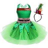 CHICTRY Vestito da Pattinaggio Artistico Bambina Paillettes Tutu da Danza Classica Babbo Natale Costume Elfo Natale Carnevale Vestito da Balletto Ballerina Abito Natalizio Verde D 4-6 Anni