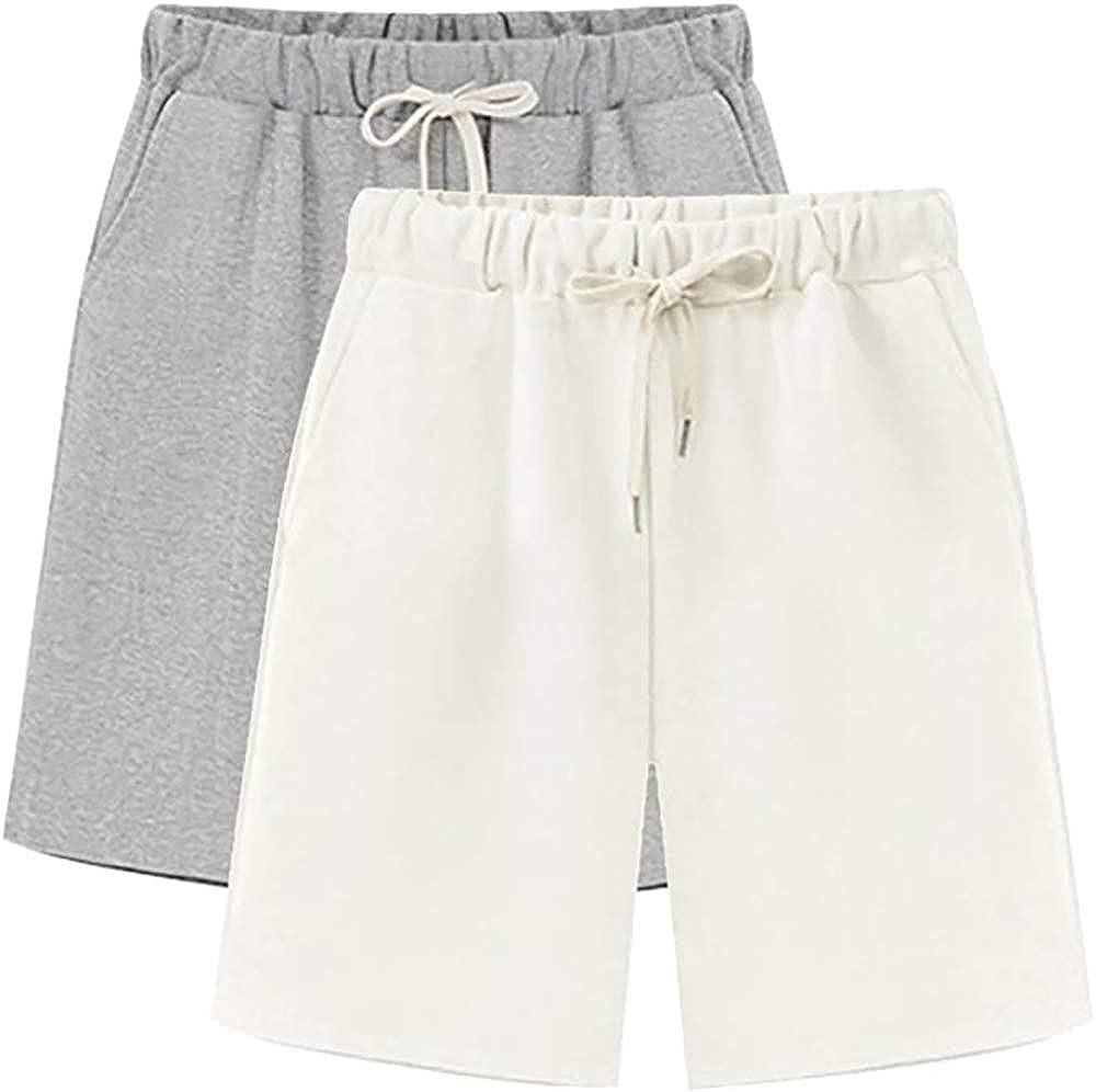 Women's Elastic Waist Short with Popular brand in the world Bermud Jersey Soft Popular popular Knit Pockets