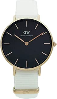 Daniel Wellington DW00600312 Fabric-Band Black-Dial Round Analog Unisex Watch - White
