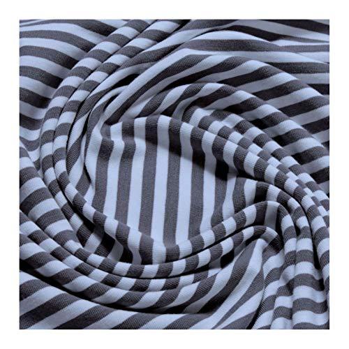 0,5 Meter Stoff Baumwolle Elastan Single Jersey Streifen grau weiß Ringeljersey