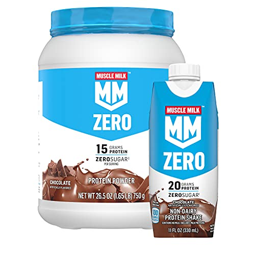 Muscle Milk Zero, 100 Calorie Protein Powder and Shake Bundle Pack, Chocolate, 11oz Cartons (12 Pack) & 1.65lb Canister (Packaging May Vary)