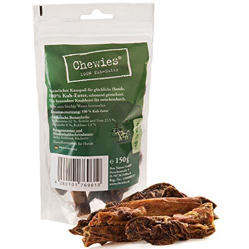 Chewies Kuh Euter Kauspaß - 150 g - Natürlicher Kausnack für Hunde - Schonend getrocknet & ohne Zusatzstoffe - Hundesnack von der Kuh