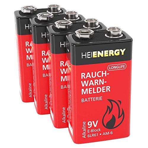 HEITECH Rauchmelder Batterie 9V Block - 4× Alkaline 9V Block Batterien langlebig & auslaufsicher - Blockbatterien für Feuermelder, Bewegungsmelder, Kohlenmonoxid, Warnmelder & Rauchwarnmelder