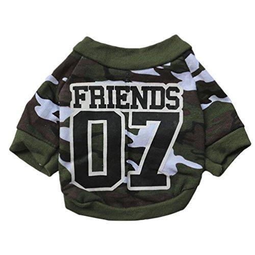 YiJee Pet Camo Imprimé T-Shirt Puppy Chien Manche Courte Shirt Vert XS