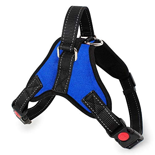 N/C No Pull Dog Vest Harness, Reflective Dog Body Padded Vest with Handle, Breathable Adjustable Dog Walking Harness Comfort Control for Cat/Small Dogs, Best for Training Walking (S,Blue)