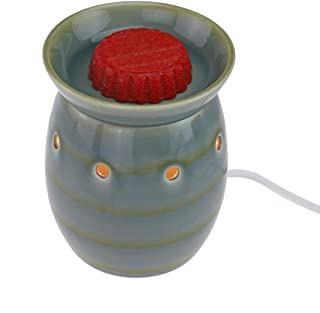 StarMoon Wax Melt Warmer Electric, Candle Warmer for Wax Melt, Home Fragrance Diffuser, Home Décor, No Flame, Removable Dish, with One More Bulb (D. Green & Gray)