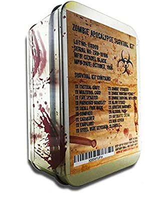 Zombie Apocalypse Survival Kit by Citadel Black - Knife, Multi-tool, Fire Starter, Skull Mask, Zombie Hunting Permit, First Aid, And More by Citadel Black