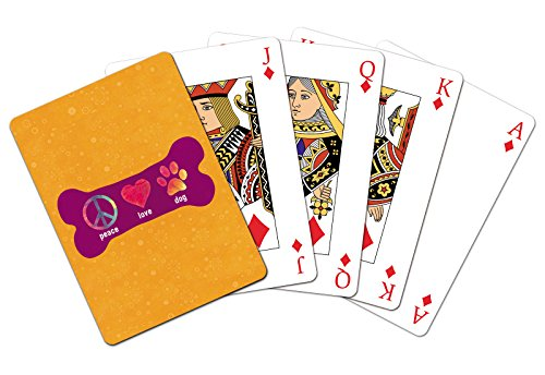 Tree-Free Greetings Standard Playing Card Deck, Peace Love Dog Themed Pet Lover Art (15183)