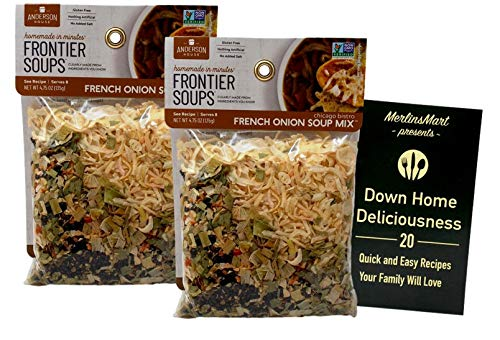 Frontier Soups Gluten Free Natural Soup Mix | Chicago Bistro French Onion (4.75 Ounces) | Pack of 2 Plus Recipe Booklet Bundle