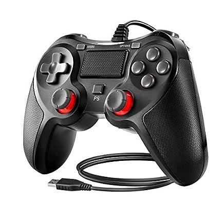 Powcan Controlador de PS4 Controlador con cable para Playstation 4 Gamepad de joystick de vibración dual para PS4 / PS4 Slim / PS4 Pro y PC con cable USB de 2.1 m de largo, negro