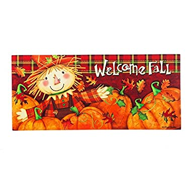 Evergreen Scarecrow Decorative Mat Insert, 10 x 22 inches