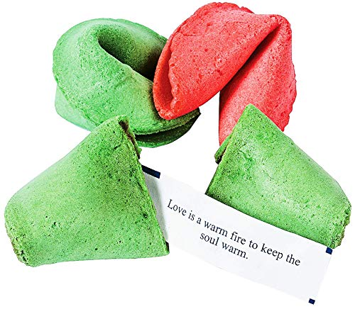 Christmas Fortune Cookies (50 pieces) Individually Wrapped Great Taste - Holiday Treats for Kids, Party Supplies, Party Favors