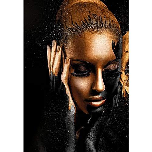 Licnay Diamond Painting Diamante Pintura para decoración de Arte Pared del hogar Completo Kit Bordado de Punto de Cruz DIY 5D Mujer Africana de Oro Negro,Diamante Redondo,60x80cm