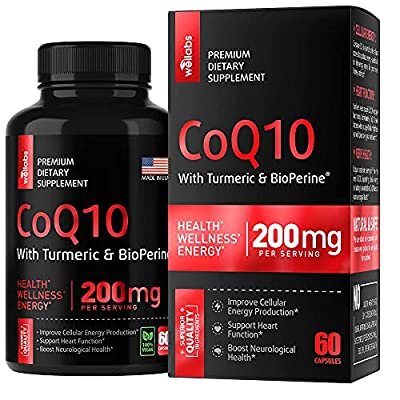 CoQ10 Ubiquinol Capsules - Coenzyme Q10 200 mg with Turmeric and BioPerine - Made in USA - Q10 Supplement for Heart & Energy Support - Non-GMO & Gluten-Free - 60 Vegan Capsules