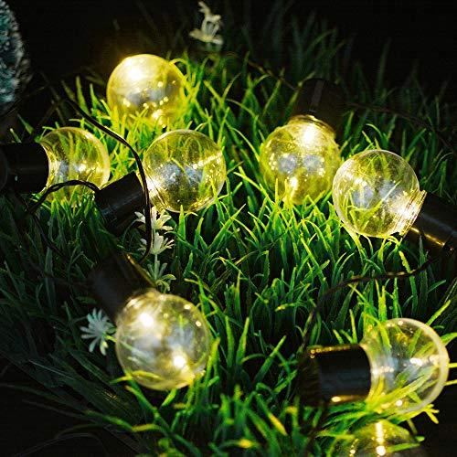 Guirnalda de luces solares transparentes con 20 luces LED de 4,8 m para decoración de jardín, patio, fiesta, al aire libre, impermeable.