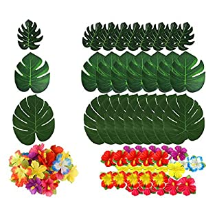 QAQGEAR 132 Pcs Hawaiian Flowers Artificial Leaves 3 Kinds Tropical Party Decorations Supplies Artificial Palm Leaves Hibiscus Flowers for Hawaiian Luau Party Home Birthday Suppliers Decorations