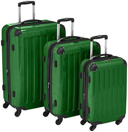 HAUPTSTADTKOFFER - Alex - 3er Koffer-Set Trolley-Set Rollkoffer Reisekoffer Erweiterbar, 4 Rollen, (S, M & L), Grün