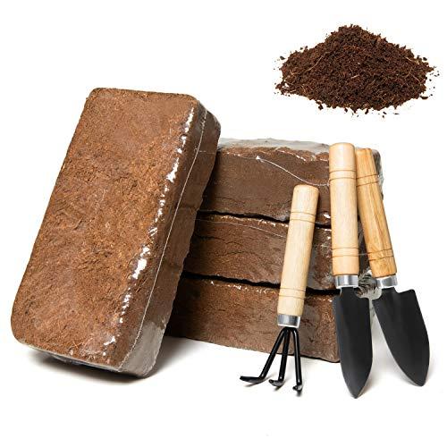 June Fox Coco Coir Brick, Coconut Fiber Brick, Coco Peat Block - Soilless Growing Medium - Coconut Coir Concentrated Seed Starting Mix - Peat Moss Alternative, Brown(4 Bricks,Atoolset)