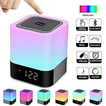 Alarm Clock Bluetooth Speaker Night Light Bluetooth Speaker,Touch Sensor Bedside Lamp,Dimmable Warm Light & Color Changing RGB LED Table Lamp MP3 Music Player for Kids,Bedroom,Camping  Newest Version