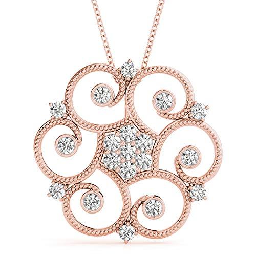 Rose 14KT 0.35 CT Fancy Circle Bezel Set Round Diamond Pendant Necklace Amcor Design (0.35 Ct Fancy Diamond)