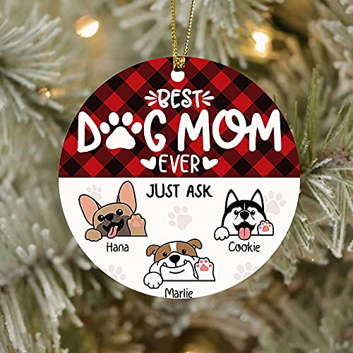 ASTROMI58 Best Dog Mom Ever Christmas Ornament, Personalized Name Dog Breed Ornament, Custom Halloween Holidays Ornament