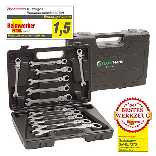STARKMANN Blackline Werkzeug Gabelschlüssel mit Ratschenfunktion Maulgabelschlüssel Ringschlüssel Ringgabelschlüssel 12tlg