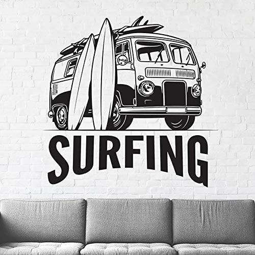 Hippie Coche Vehículo Camper Viaje Surf Viaje Mini Bus Tabla de surf Verano Playa Deportes Etiqueta de la pared Calcomanía de vinilo Dormitorio de niño Sala de estar Club Decoración para el hogar