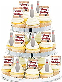 CakeSupplyShop 24pk Birthday Party Food/Appetizer/Desert/Cupcake Decoration Toppers (24pack Bowling)