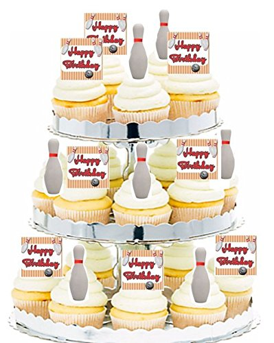 CakeSupplyShop 24pk Birthday Party Food/Appetizer /Desert/Cupcake Decoration Toppers (24pack Bowling)