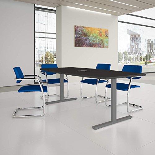 Weber Büro Easy Konferenztisch Bootsform 200x100 cm Anthrazit mit Elektrifizierung Besprechungstisch Tisch, Gestellfarbe:Silber