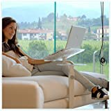 Lounge-Book Crystal White - Design Laptop Table, Supports up to 17-18 inchs Notebooks, Tablet, IPad, Lectern for E-Book. Coolfit Cooling System, Mouse-pad for External Mouse or Smartphone