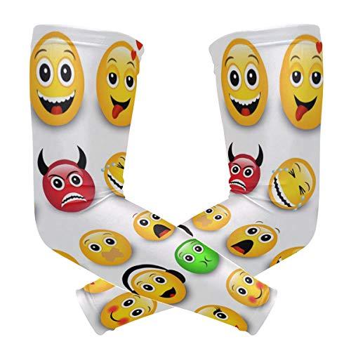 LUPINZ Gelbe Emotions-Gesichter, Kompressionsstrümpfe, Armband, UV-Schutz, Kühlung, Sonnenschutz, für Outdoor-Sportarten, 1 Paar