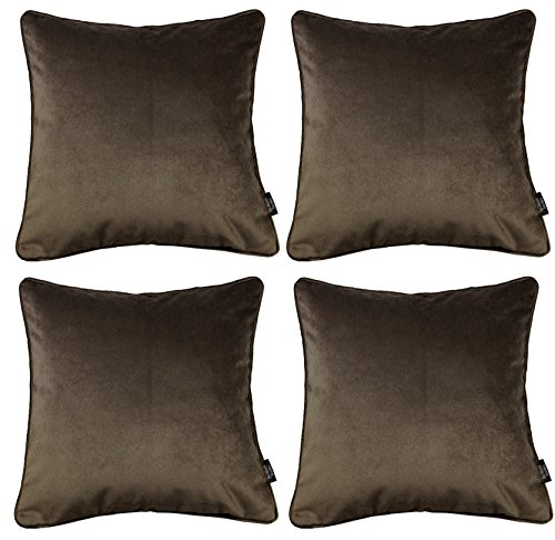 McAlister Textiles Matter Samt | 4er Packung Kissenbezüge für Sofakissen in Mokka Braun | 40 x 40cm | griffester Samt edel paspeliert | in 24 Farben erhältlich | Kissenhülle für Samtkissen