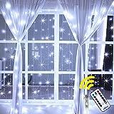 Ollny Curtain String Lights 192 LEDs USB Powered Window Curtain Fairy Lights for Bedroom...