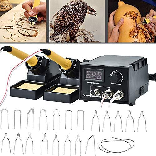 InLoveArts pirografo per legno, 60W 110V-240V Kit di utensili per la combustione del legno Strumento di pirografia professionale con 20 pezzi Suggerimenti per pirografia