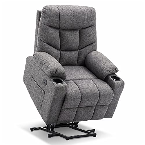 Mcombo Electric Power Lift Recliner Chair Sofa for Elderly, 3 Positions, 2 Side Pockets and Cup Holders, USB Ports, Fabric 7286 (Medium Grey)