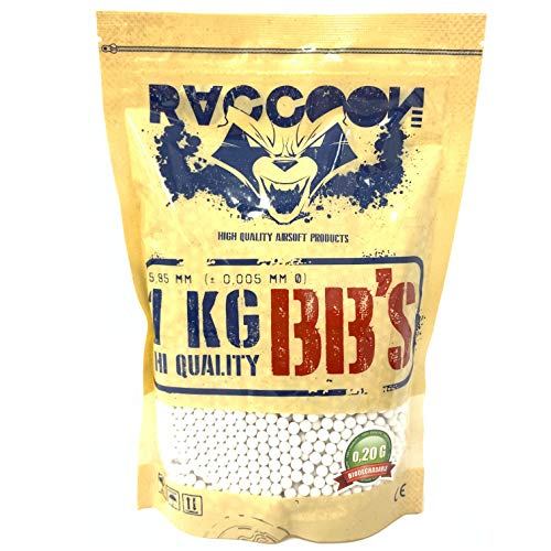 RACCOON Bolsa de 1 Kg Bio Extreme Precision Balines Biodegradables para Pistola de Bolas (1kg Unidades, 0,20 g)