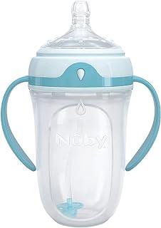 (跨境自营)(包税) Nuby Comfort 硅胶奶瓶 250ml/8盎士 (中等流速及360度全姿势全角度吸管) NB50004